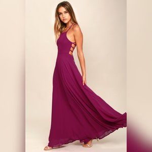 Lulus Strappy to be Here Magenta Maxi Dress